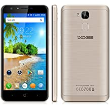 "Doogee Y6C - Smartphone Libre 4G LTE (Android 6.0, Pantalla 5.5"", 8.0 Mp, 16GB ROM, 2GB RAM, Quad-Core 1.3GHz, Dual SIM, Lector de huellas, Bluetooth, GPS, WIFI), Oro"