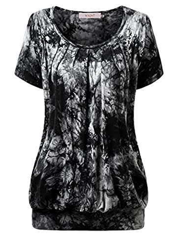 WAJAT Women's Round Neck Short Sleeve Tunic Blouse Pleated Front Tie Dye Casual T-Shirt Tops Black L