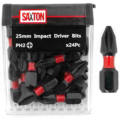 Saxton 24 x PH2-25 mm Schraubendreher-Bit-Sets, belastbar, in Tic-Tac-Box, Kompatibel mit Dewalt, Milwaukee, Bosch