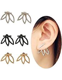 3 pairs Lotus Flower Earrings lightweight Ear Cuffs Stud Jackets Earrings Elegant Fashionable Best Gift for Women Girls