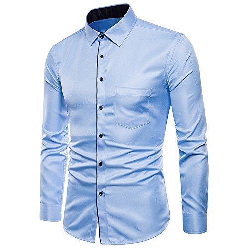 Herren Hemd Shirt Langarmshirt,Herren Langarm Oxford Formelle Freizeitanzüge Slim Fit T-Shirt Bluse Top Freizeithemd Modischem Elegantes Hemden Shirt Langarmlig Business Hochzeit -