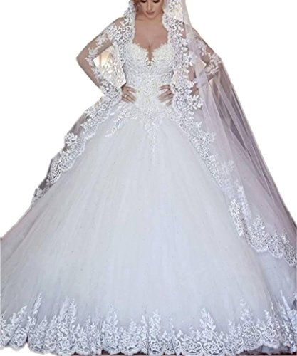 APXPF Damen Kathedralezug Spitze Applique Brautkleid für Braut mit Schleier Spiel 16 Weiß