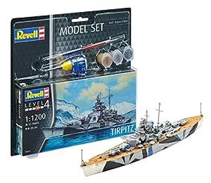 Revell Acorazado alemán Tirpitz Modelo Set, con Pinturas, Pegamento y Pincel Escala 1: 1200 (65822), Scale