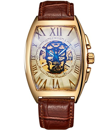 Sewor Luxury Mens Skull Head Automatic Mechanical Wrist Watch Leather Band Glass Coating Blue (Gold White)