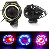 #9: LIONEX U11 CREE LED FullRing Projector Fog Light with High/Low Strobe Beam and Flashing Universal Headlight Driving Spot light, Night Lamp for Motorcycle Bike ATV Boat and Off-Road Vehicles (10W-35W, White-Blue, Pack of 2)