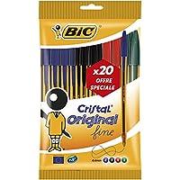 BIC Cristal Original Stylos-Bille Pointe Fine - Couleurs Assorties, Pochette de 20