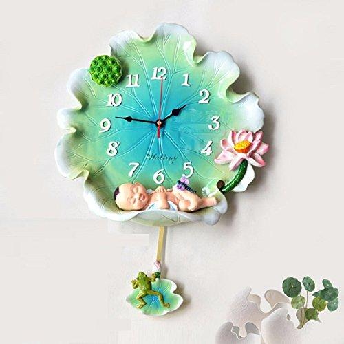 Beloved clock Wanduhr Modern Neu Für Jeden Raum präzise Lotus lässt Ihr Baby Engel Kreative Wohnzimmer Schlafzimmer Uhr Silent Mode, männliche Baby Grün (Rolex-uhren Männliche)