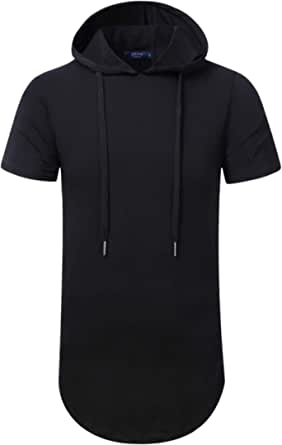 AIYINO Men's S-5X Short Sleeve Fashion Athletic Hoodies Workout Sweatshirt Hip Hop Pullover Hooded