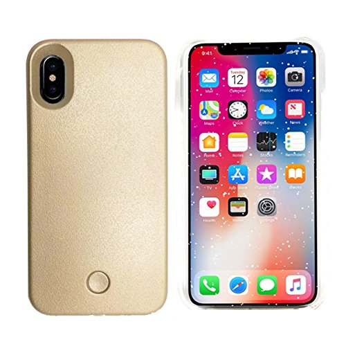 Gsy iPhone x selfie luce iPhone case, ricaricabile, con luce LED flash Lighting selfie case illuminato interruttore copertura [dimmerabile] per Apple iPhone x iPhone X Gold