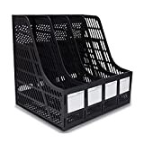 KXF Schreibtisch-Ordner, 4 Abschnitte, stabil, Kunststoff, Zeitschriftenhalter, Rahmen, Ordnerregal, Ablage und Aufbewahrung für Schule, Büro, Papier Schwarz