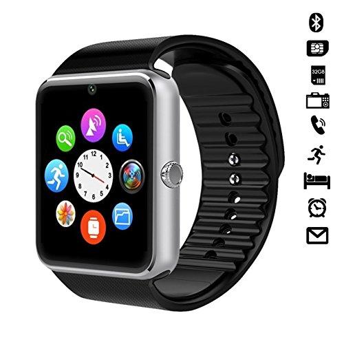 """CHEREEKI 1.54"""" Bluetooth Smart Watch Armband Telefon Uhr mit Kamera, SIM & Micro-SD Karten-Slot Schrittzähler LCD Touch Screen für Android Smartphones (Silber)"""