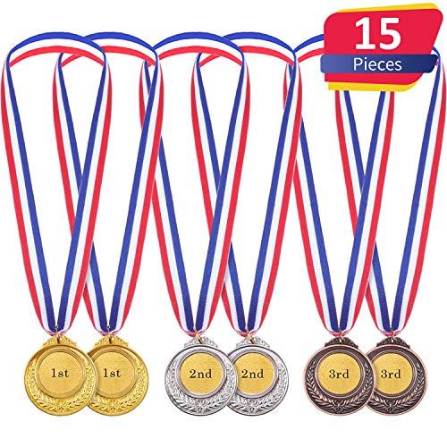Gold Silber Bronze Olympische Stil Medaille Gewinner Medaillen Gold Silber Bronze Awards für Spiel und Party (15 Stücke) -