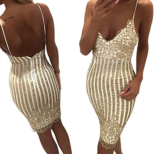 Rcool Damen Pailletten Bandage ärmellose Abend Party Kleid Prom figurbetonten Rock Gold (XL)