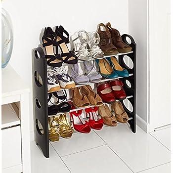 vinsani 4 tier free standing shoe rack stand storage organiser shelf home furniture black