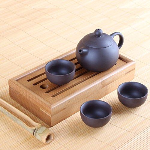 Goodwei Yixing Tee-Set aus Zisha-Ton – Teekanne mit DREI Teeschalen, inkl. Chapan und Teezange
