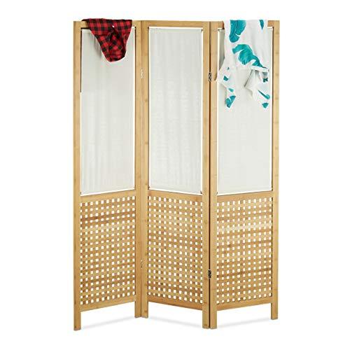 Relaxdays Paravent 3-teilig Bambus freistehend, Faltbarer Raumteiler mit Sichtschutz, Landhaus, HxB: 180 x 132 cm, Natur