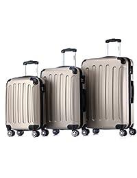 BEIBYE Koffer Farbauswahl!! 3 tlg. Reisekofferset Kofferset Trolley Hartschale (Champagner)