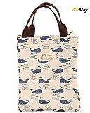 Weimay Bolsa de lona portátil de almuerzo, impermeable personalizado reutilizables bolsas de almuerzo aisladas Almuerzo caja con correa de hombro para los hombres las mujeres