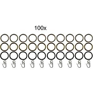 Garduna 100 Gardinenringe / Vorhangringe / edelstahl-optik / messing-antik / schwarz (messing-antik)