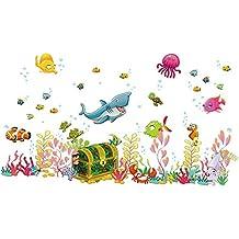 Mondo sottomarino pesci fai da te per bambini Adesivi da parete per bambini Camera da letto Camera dei bambini Sfondo Decor Sticker rimovibile decalcomanie