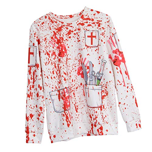 Blutiger Kostüm Arzt - Baoblaze Halloween Blutigen O Hals Pullover Sweatsuit Halloween Kostüm Cosplay zum Zombie Arzt - S