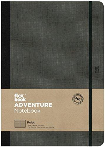 Flex Book Adventure–taccuino formato tascabile 17x 24cm, 192pagine a righe, Off–nero
