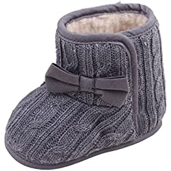 Tefamore Zapatos bebe de sole suave de moda invierno de calentar para chicas (Longitud12cm(6-9 meses), Gris)