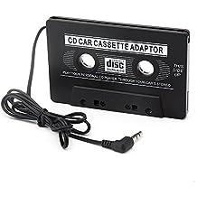 Adattatore per cassette per auto Adattatore per cassette audio per auto universale da 3,5 mm per smartphone Compatibile con Jack audio da 3,5 mm per lettori MP3 / CD / MD per iPhone 6S / 6SPlus iPhone 5S, Samsung Galaxy S8 / S8 + S8 Plus, LG G6 (nero)