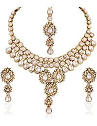 I Jewels Traditional Gold Plated Stone Necklace Set With Maang Tikka For Women IJ225W (White)