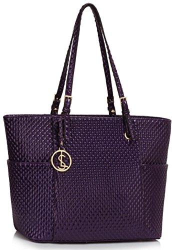 LeahWard® Groß Damen Einkaufstaschen nett Groß Kunstleder Handtaschen 496 Patent Taschen-Lila (35x16.5x30cm)