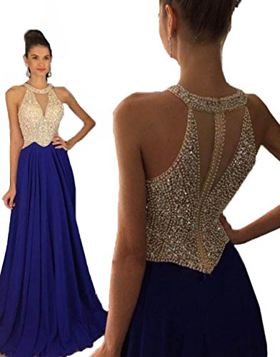 Fanciest Women's Crystal Beaded Prom Dresses 2016 Long Evening Gowns Formal Royal Blue 40 (Womens Blue Prom Dresses)