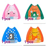 AJOYCN 4pc Bib with Sleeves EVA Waterproof Unisex Apron Clothing Waterproof Kids for Painting and Eating with Long Sleeve for Babies 6 Months to 3 Years Old Children