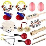 Neewer Set de percusión para niños preescolar jóvenes juguetes musicales de instrumentos de ritmo como castañuela campanillas huevo Maraca campana pandero triángulo platillos superficie lisa estuche