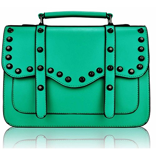 Zarla-Borsa a tracolla in finta pelle, da donna, con borchie, per la scuola Verde (Smeraldo)