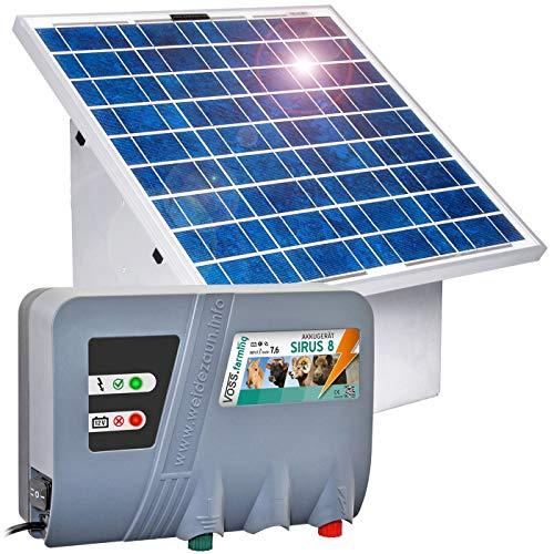 VOSS.farming Solarset 12 V Weidezaungerät Sirus 8 mit 55W Solarsystem – Nutzen Sie die Kraft der Sonne! – Perfekte Hütesicherheit für Pferde, Ziegen, Schafe, Rinder