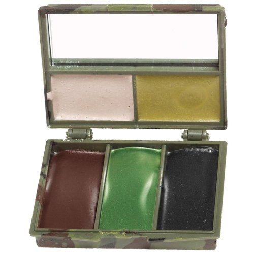 Mil-Tec Camo Face Camo pintura 5 colores con el espejo Woodland