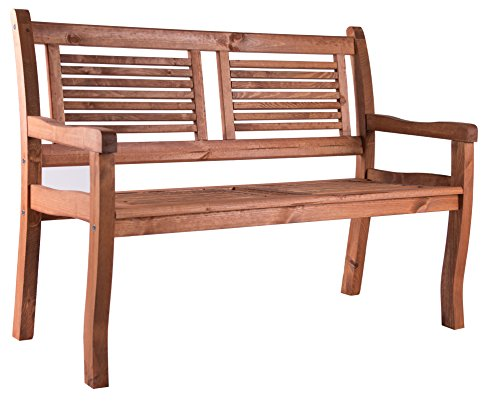 Bomi 2 Sitzer Gartenbank Holz massiv | Holzbank mit Lehne Kirschbaum wetterfest 120cm | Sitzbank Garten Parkbank Balkonbank Blumenbank