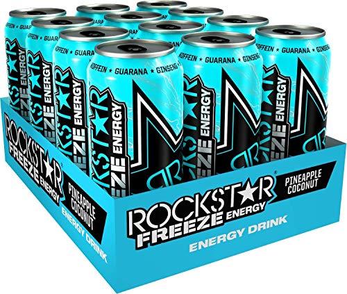 Rockstar Energy Drink Freeze Pineapple & Coconut, Koffeinhaltiges Erfrischungsgetränk für den Energie Kick, einweg (12x 500ml)