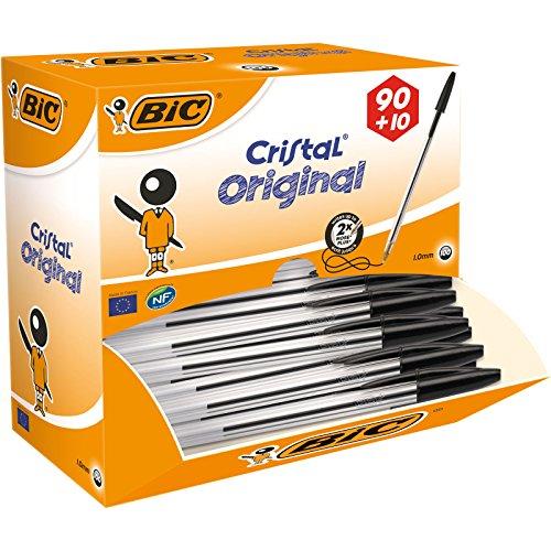 Bic Cristal Original Punta Media 1 mm Confezione 100 Penne Colore Nero