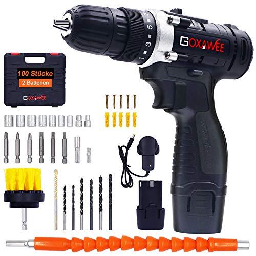 Akkuschrauber, GOXAWEE 100 Pcs Akku-Bohrschrauber, 2 Lithium-Ionen-Batterien 1500mAh, 2-Speed 12V, maximales Drehmoment: 38-42 Nm