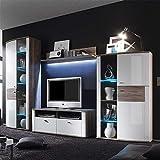 Pharao24 Wohnzimmer Wohnwand in Hochglanz Weiß Eiche dunkel Ohne Beleuchtung Energieeffizienzklasse