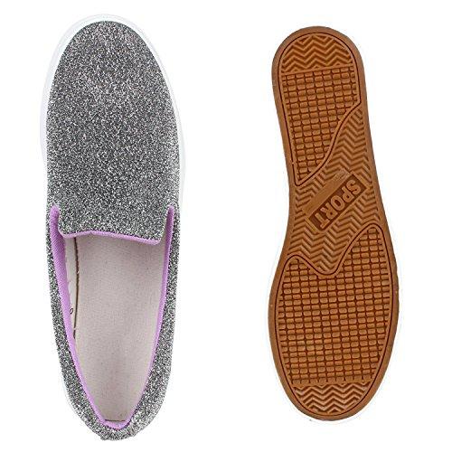 ... Damen Glitzer Slip-ons Plateau Metallic Slipper Mode Schuhe   Gr. 36-41 df8e547dba