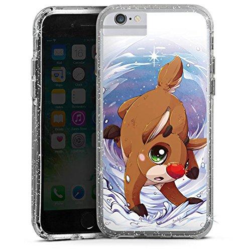 Apple iPhone 8 Bumper Hülle Bumper Case Glitzer Hülle Rudi Reindeer Rentier Bumper Case Glitzer silber