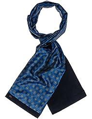 Mailando Herrenschal aus Kaschmir-Woll-Mix und Seide, Paisley Muster, sehr elegant, blau – schwarz