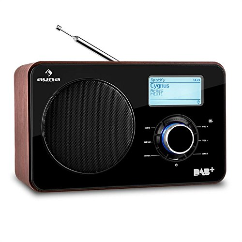 auna Worldwide - Internetradio, Digitalradio, WLAN-Radio, Netzwerkplayer, LAN, DAB/DAB+ Tuner mit RDS, UKW Radio, MP3-USB-Port, AUX, Display, Fernbedienung, braun