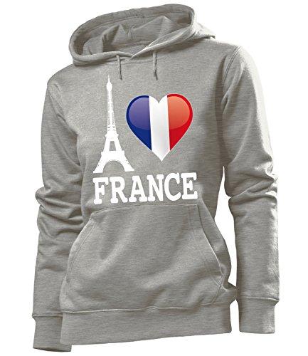 I Love France - Frankreich - HOODIE Donna Felpa con cappuccio Taglia S to XXL vari colori Grau