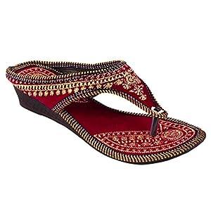 Beauty Craft Rajasthani/ Jaipuri Ethnic Golden Zari Embroidery Work Chappal Sandal