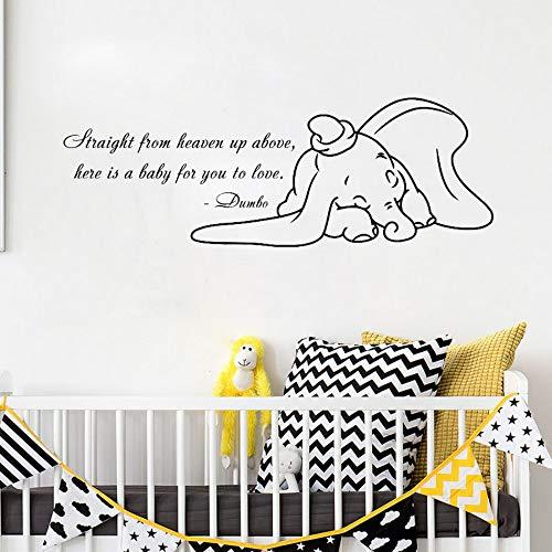 Ayhuir Pegatinas De Pared De Vinilo Animal Para Habitaciones De Niños Dumbo Cita Tatuajes De Pared De Dibujos Animados Elefante Sala De Juegos Nursery Room Sticker Wallpaper 86X30 Cm