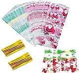 Süßigkeiten tüten,200 Stück Cellophantüten Klein Tütchen Flachbeutel Transparent Zellglasbeutel mit 200Pcs Twist Ties Süßigkeitentüten Weihnachten für Bonbon Plätzchen Kekse Pralinen Süßigkeiten