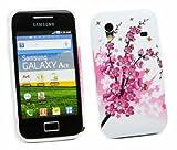 Kit Me Out IT - Samsung Galaxy Ace S5830 Protezione Custodia / Cover / Skin TPU Gel Rosa Fiori + LCD Pellicola Protettiva Schermo